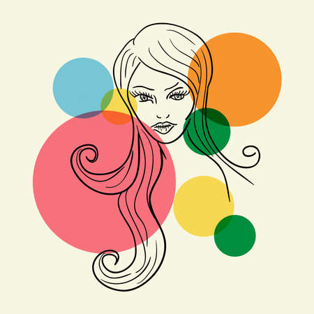 Long hair Woman profile sketch with transparent bubbles. Stock Vector - 18146648