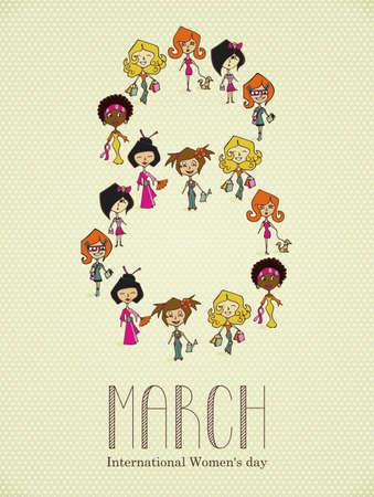 mars: Diff�rentes cultures, les femmes dans une carte 8 mars Femme salut Jour. Fichier vectoriel couches pour une manipulation ais�e et la coloration. Illustration