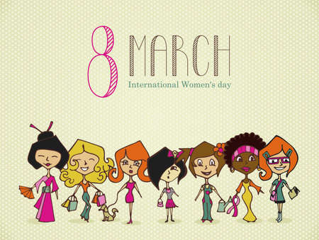 Different cultures women in 8 march Woman Day greeting card. Vector file layered for easy manipulation and coloring.