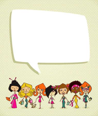 diversidad cultural: Mujeres culturas diferentes en 8 tarjeta de felicitaci�n D�a de la mujer marcha. Archivo vectorial en capas para una f�cil manipulaci�n y colorantes.