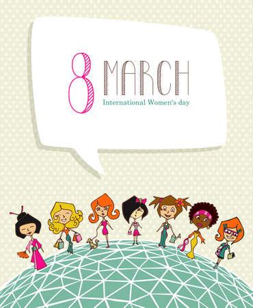 diferentes profesiones: Mujeres culturas diferentes en 8 tarjeta de felicitaci�n D�a de la mujer marcha. Archivo vectorial en capas para una f�cil manipulaci�n y colorantes.