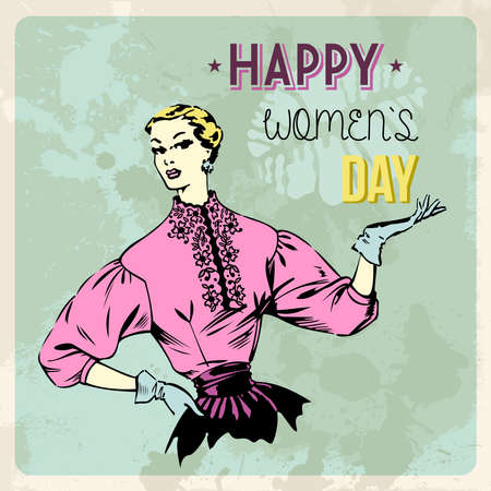 Retro Happy woman day background. Vector illustration layered for easy manipulation and custom coloring. Vector