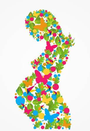 Lente zwangere vrouw bloemen silhouet achtergrond. Vector bestand gelaagd voor eenvoudige manipulatie en kleur.