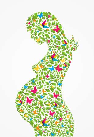 embarazada: Flores verdes del resorte silueta de la mujer embarazada fondo. Archivo vectorial en capas para una f�cil manipulaci�n y colorantes. Vectores