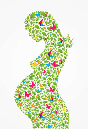 Green pregnant woman spring flowers silhouette background. Vector file layered for easy manipulation and coloring. Vector