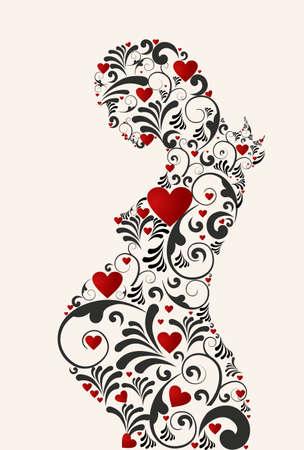 pregnant: Mujer embarazada coraz�n y remolinos florales de fondo silueta retro. Archivo vectorial en capas para una f�cil manipulaci�n y colorantes.