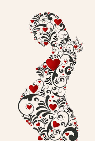 Pregnant woman heart and floral swirls retro silhouette background. Vector file layered for easy manipulation and coloring.