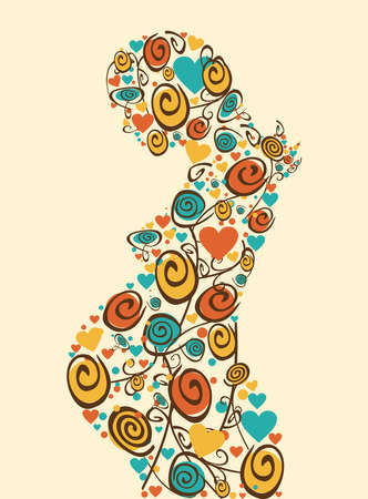 Spring pregnant woman flowers and hearts silhouette background. Vector file layered for easy manipulation and coloring. Vector