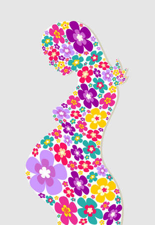 Pregnant woman with flowers silhouette background. Vector file layered for easy manipulation and coloring. Vector