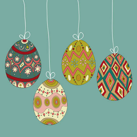 customisation: Happy Easter hanging eggs greeting card background. Vector file layered for easy manipulation and customisation.