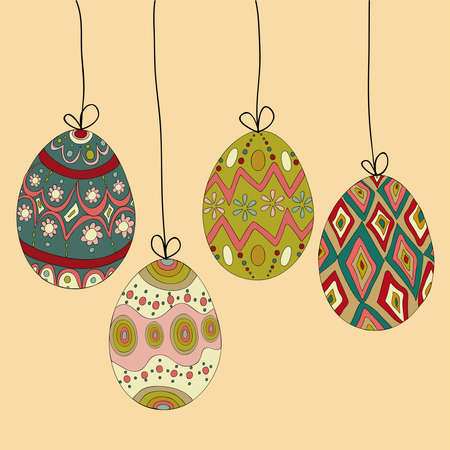 Happy Easter hanging eggs greeting card background.  file layered for easy manipulation and customisation. Vector