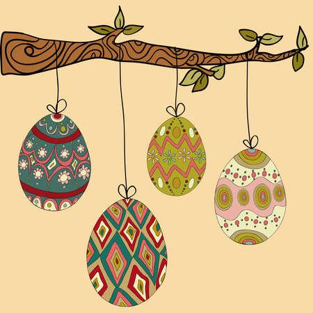 arbol de pascua: Feliz Pascua colgando los huevos de branch.file �rbol de capas para una f�cil manipulaci�n y personalizaci�n.
