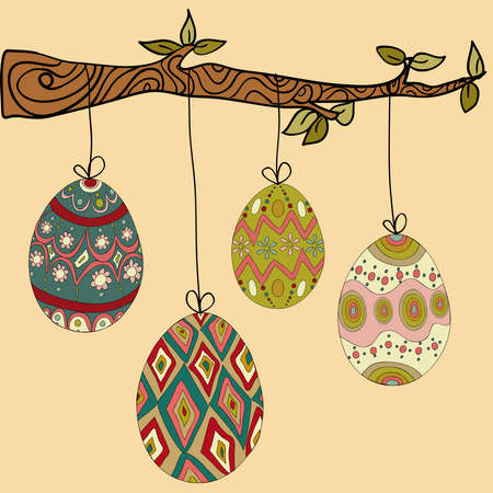 Happy Easter hanging eggs from tree branch.file layered for easy manipulation and customisation. Vector