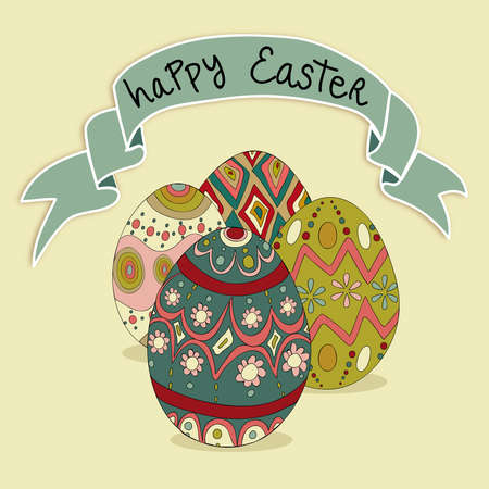 Happy Easter eggs greeting card background. file layered for easy manipulation and customisation. Vector