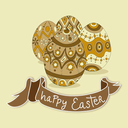 Happy Easter eggs greeting card background.  file layered for easy manipulation and customisation. Stock Vector - 18221262