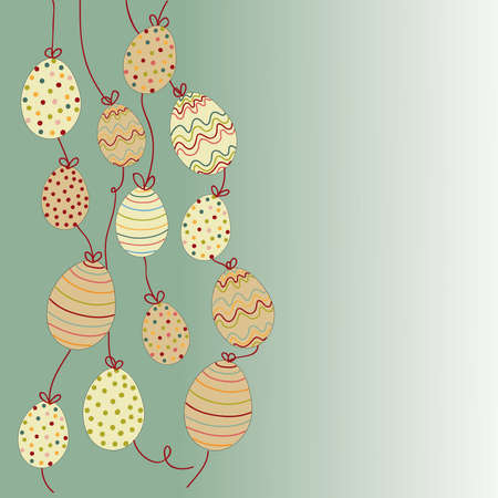 Happy Easter hanging eggs greeting card background.  file layered for easy manipulation and customisation. Stock Vector - 18221243