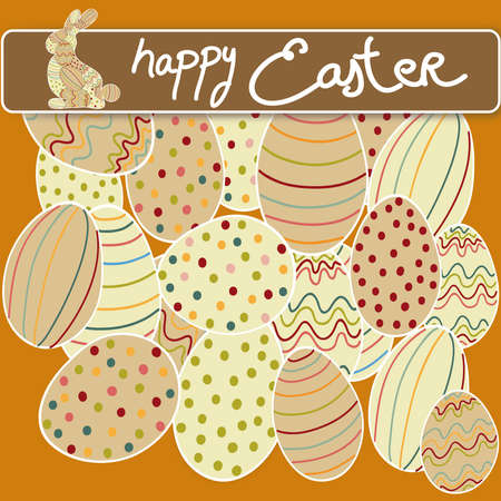 Happy Easter eggs and bunny greeting card background. file layered for easy manipulation and customisation. Stock Vector - 18221281