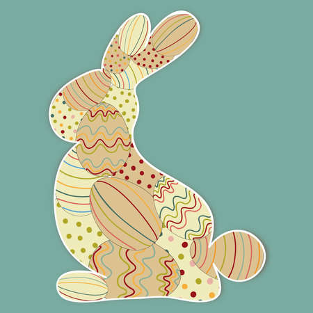rabbit silhouette: Easter bunny silhouette with eggs texture. This illustration contains transparencies and is layered for easy manipulation and custom coloring Illustration