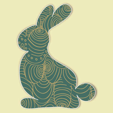 Easter bunny silhouette with eggs texture. This illustration contains transparencies and is layered for easy manipulation and custom coloring Vector