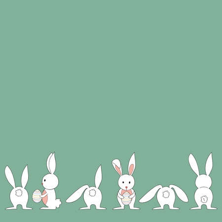 Funny baby Easter bunny and egg in different positions. This illustration is layered for easy manipulation and custom coloring Vector