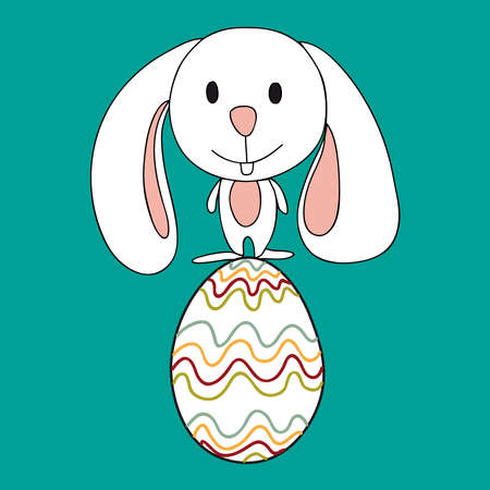 Funny baby Easter bunny balanced over a decorative egg. This illustration is layered for easy manipulation and custom coloring Vector