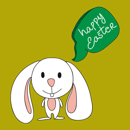 Funny baby Easter bunny with social speech bubble. This illustration is layered for easy manipulation and custom coloring Vector