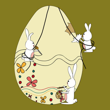 Decorative Easter egg under construction by bunnies team. This illustration is layered for easy manipulation and custom coloring. Vector