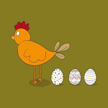 Easter hen with decorative eggs. file layered for easy manipulation and customisation. Vector