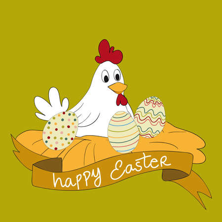 Happy Easter hen with eggs greeting card background. file layered for easy manipulation and customisation. Vector