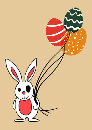 Easter bunny with eggs as balloons.  This illustration contains transparencies and is layered for easy manipulation and custom coloring Vector