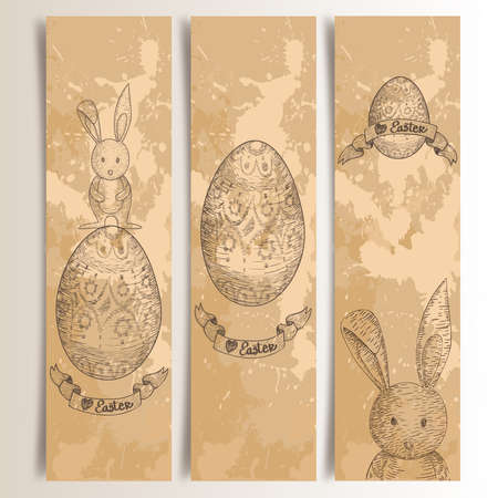 Retro hand drawn Easter bunny banners set.  This illustration contains transparencies and is layered for easy manipulation and custom coloring Vector