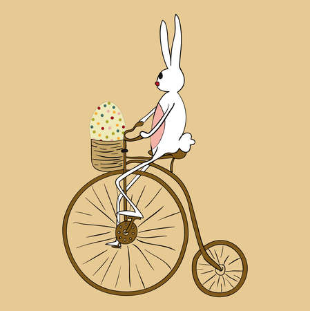 Retro Easter bunny biking an antique bicycle. EPS10 file version. This illustration contains transparencies and is layered for easy manipulation and custom coloring Vector