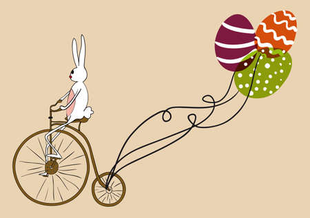 Retro Easter bunny biking an antique bike with decorative eggs as balloons.  This illustration contains transparencies and is layered for easy manipulation and custom coloring