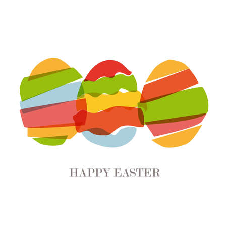 Multicolored transparent Easter eggs silhouette isolated.  This illustration contains transparencies and is layered for easy manipulation and custom coloring Vector
