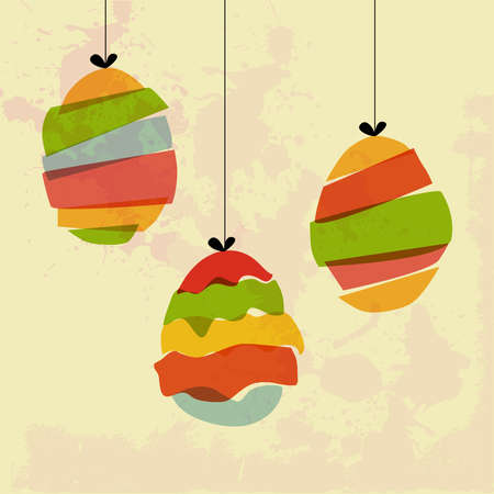 Transparent multicolored hanging Easter eggs.  This illustration contains transparencies and is layered for easy manipulation and custom coloring Vector