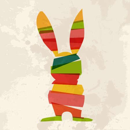 lapin silhouette: Transparent lapin de Pâques multicolores sur fond grunge. Cette illustration contient les transparents et superposés pour une manipulation aisée et la coloration personnalisée Illustration