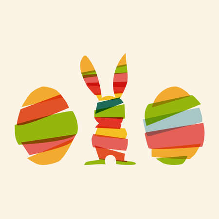 Transparent multicolored Easter bunny and eggs. This illustration contains transparencies and is layered for easy manipulation and custom coloring Vector