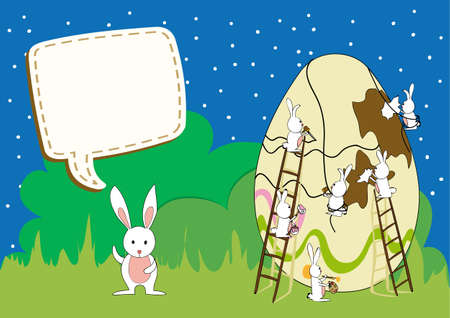 Decorative Easter egg under construction by bunnies teamwork card background. illustration layered for easy manipulation and custom coloring. Vector