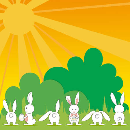 Funny baby Easter bunny playing in the meadow background. This illustration is layered for easy manipulation and custom coloring Vector