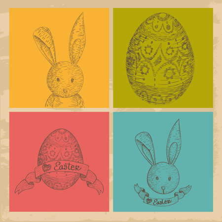 Hand drawn Happy Easter elements set over grunge background. illustration layered for easy manipulation and custom coloring. Stock Vector - 18221259