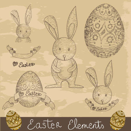 Hand drawn Happy Easter elements set.  illustration layered for easy manipulation and custom coloring. Vector