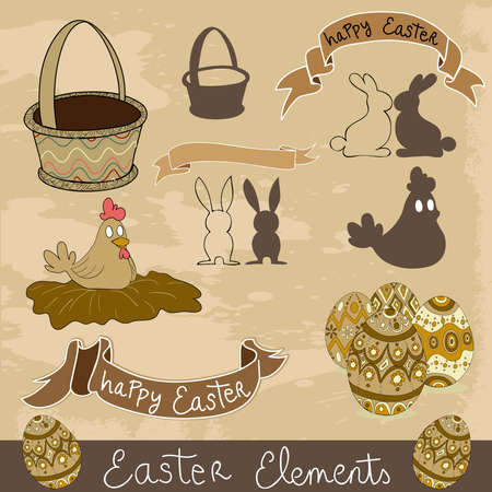 Hand drawn Happy Easter elements set. illustration layered for easy manipulation and custom coloring. Stock Vector - 18221256