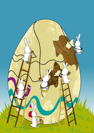 Decorative Easter egg under construction by bunnies teamwork.  illustration layered for easy manipulation and custom coloring. Vector