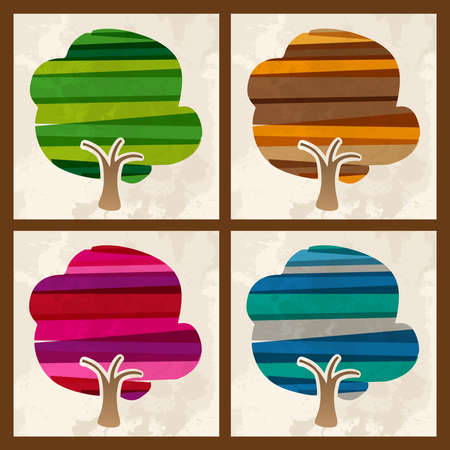 the banded: Multicolored transparent season banded tree set: spring, autumn, winter, summer. This illustration contains transparencies and is layered for easy manipulation and custom coloring