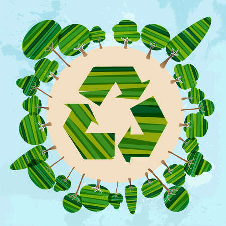 yellow banded: Multicolored transparent banded trees around recycle symbol world. This illustration contains transparencies and is layered for easy manipulation and custom coloring