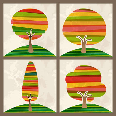 yellow banded: Multicolored transparent banded tree set. This illustration contains transparencies and is layered for easy manipulation and custom coloring