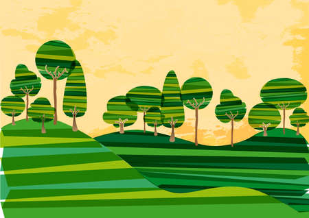 Multicolored transparent banded forest countryside. This illustration contains transparencies and is layered for easy manipulation and custom coloring Stock Vector - 18836612