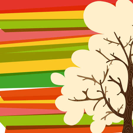 the banded: Multicolored transparent banded tree greeting card. This illustration contains transparencies and is layered for easy manipulation and custom coloring