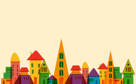 little town: Multicolored transparent town. This illustration contains transparencies and is layered for easy manipulation and custom coloring