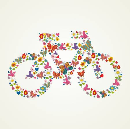 Spring flower and butterfly icons texture in icon green bike shape composition background. illustration layered for easy manipulation and custom coloring. Vector